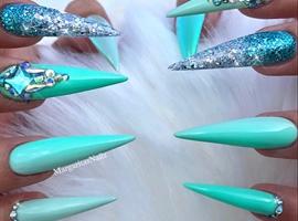 Mint Green Glitter Ombré Bling Stilettos