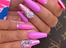 nail art: Pink Purple Bling Coffin Nails