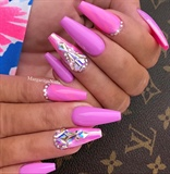 Pink Purple Bling Coffin Nails