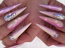 nail art: Pastel Pink Yellow Ombré Bling Stilettos