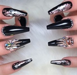 Black Rose Gold Bling Coffin Nails