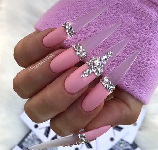 Clear Matte Bling Pink Stiletto Nails Nail Art Gallery