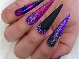 Purple Glitter Ombré Black Matte Nails