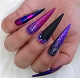 Purple Glitter Ombré Black Matte Nails
