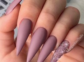 nail art: Matte Mauve Crystal SugarStiletto Nails