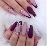 Mauve Purple Matte Bling Coffin Nails
