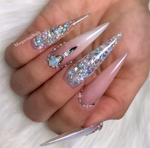 Unicorn Glitter Ombré Bling Stilettos