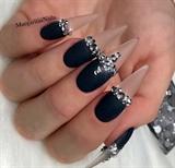 Clear Black Matte Bling Stiletto Nails