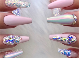 Baby Pink Bling Glitter Coffin Nails