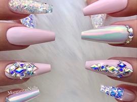 nail art: Baby Pink Bling Glitter Coffin Nails