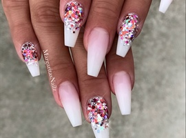 White Pink Glitter Ombré Coffin Nails