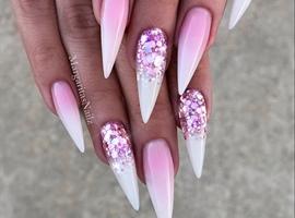 nail art: Pink White Rose Glitter Ombré Stilettos