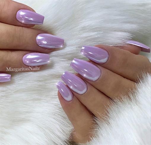 Lavender Pastel Chrome Coffin Nails