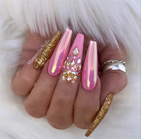 Pink Gold Chrome Bling Coffin Nails
