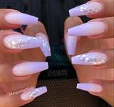 Lavender Ombré Glitter Coffin Nails