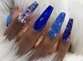 nail art: Royal Blue Ombré Bling Coffin Nails