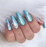 Ice Blue Chrome Ombré Coffin Nails