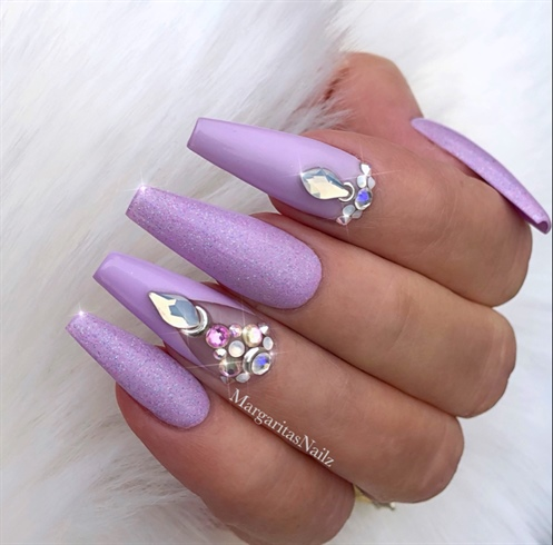 Purple Lavender Bling Coffin Nails