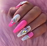 Pink White Pixie Bling Coffin Nails