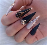 Black Matte Rose Glitter Ombré Stilettos