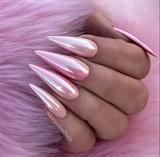 Pink Pearl Ombré Chrome Stiletto Nails