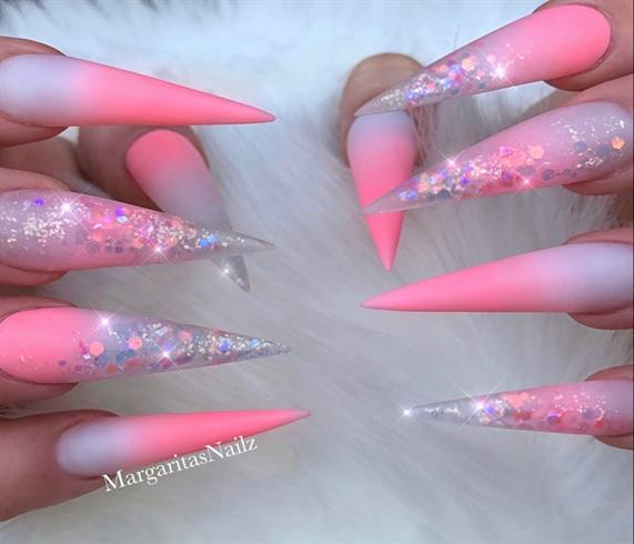 Coral Ombré Glitter Matte Stiletto Nails