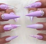 Lavender Lilac Ombré Bling Stiletto Nail