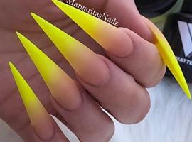 Neon Yellow Ombré Matte Stiletto Nails