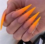 Neon Orange Ombré Matte Stiletto Nails