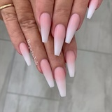 Pink And White Ombré Matte Coffin Nails