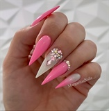 Pink Ombré Bling Stiletto Nails