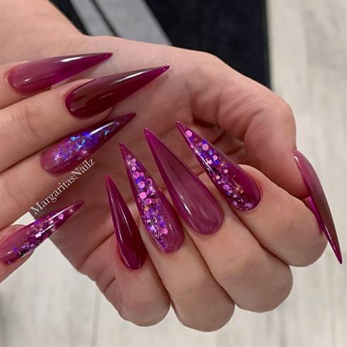Purple Burgundy Ombre Glitter Stilettos