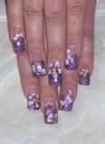 purple w pink flowers/ glitter inside