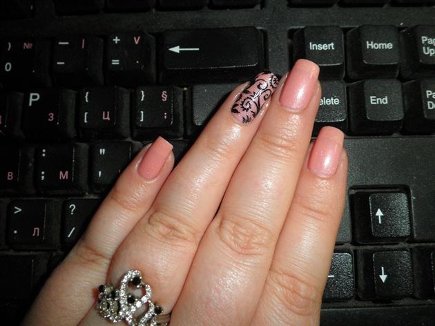 Filegree pink bridal nail art