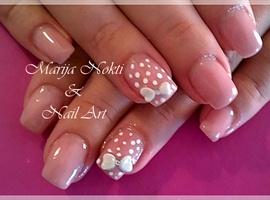 gel nails and acrilic bow