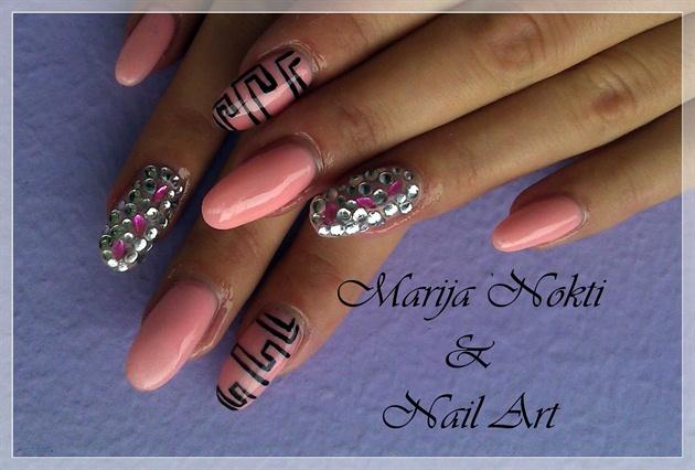 pink, black and rhinestones