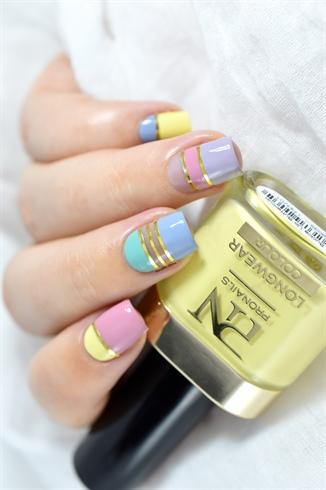 Pastel Color Block nail art