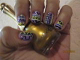 purple, & yellow tribal nails
