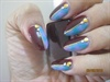 dark red, lavender & teal acrylic nails