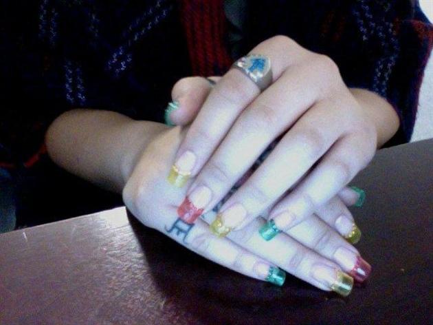 rasta colors- Gel with rhinestones!!