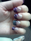 purple glitter acrylics hand painted
