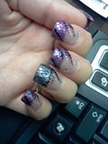 purple glitter acrylics hand painted 3