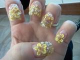 3d yellow flowers nail art