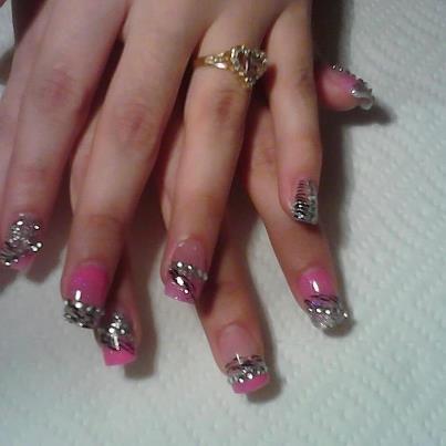 Hot Acrylics Silver Pink Zebra