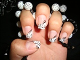 French manicure with black details