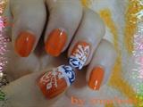 orange and flower white