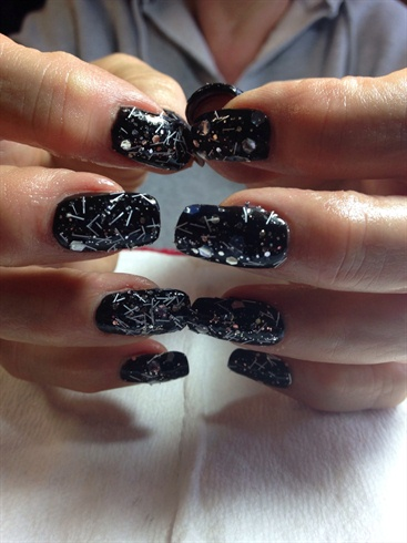 Black shellac with chrome glitter