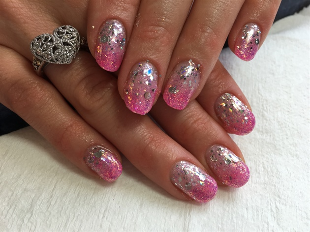 Ombré Pink With Chrome Glitter