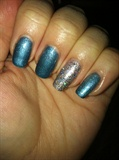 Frosty Blue With Silver Holo Accent Nail