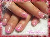 Pink shimmer on natural nails